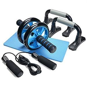 Juego de entrenamiento Odoland [3 en 1] - Entrenador abdominal AB Roller + Puños push-up + Cuerda para saltar, Antideslizante, Reductor de ruido - Ajuste corporal de fitness para hombre / mujer