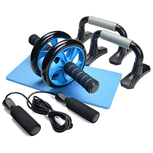 Odoland [3 in 1] Workout Set - AB Roller Bauchmuskeltrainer + Liegestützgriffe + Springseil, Anti-Rutsch, Geräuschreduzierend – Fitness Körperstraffung für Mann/Frau
