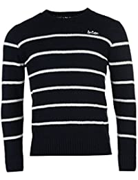 Lee Cooper Pull rayé pour homme Bleu marine/blanc Pull Top