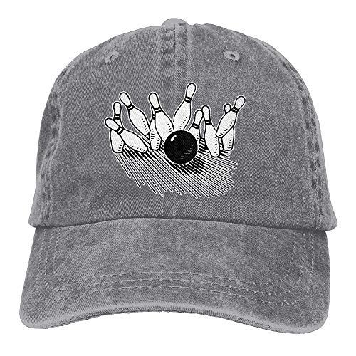 lears Unisex Baseball Cap Cotton Denim Hat Bowling Ball Striking Bowling Pin Adjustable Snapback Sun Hat -