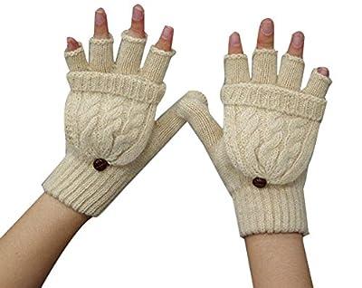 Fletion Damen Mädchen Winter Halb Handschuhe Winter Wärmer Strick Handschuhe Gestrickte Fingerlose Fäustlinge mit Flip Top
