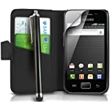 MEGA.DEALS4U - PU Leather Flip Card Wallet Case For SAMSUNG GALAXY ACE GT S5830 S5839i INCLUDING STYLUS PEN + SCREEN PROTECTOR + CLEANING CLOTH (Black)