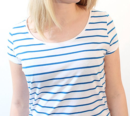 Damen Gestreiftes Rundhals-Shirt Aus 100% Bio-Baumwolle mit Querstreifen in Kontrastfarben Weiß Rot, Weiß Blau, Organic Cotton, GOTS Zertifiziert Weiß/Blau