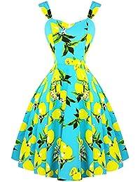 f9a6cc43d1 Hearts   Roses London Blue Yellow Lemon Print Vintage Retro 1950s Flared  Dress