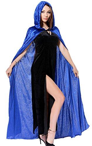 Mantello con Cappuccio Donna Uomo Diavolo Wicca Vampiro Medievale Cosplay Robe in Velluto Lungo Tippet Capo Masquerade per Adulto Costume di Halloween Carnival Natale - BienBien