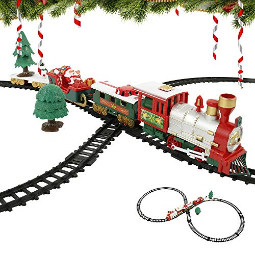 PandaHug Christmas Train Set with Realistic Sound and Light Battery Operated Xmas Train with Carriages and Tracks Christmas Electric Toy Train for Kids
