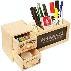 Ailiebhaus Pluma de madera Porta contenedor de escritorio con pizarra, tizas y cepillo