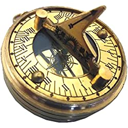 ABSOLUTELY STUNNING HEAVY BRASS QUEEN ELIZABETH SUNDIAL COMPASS WITH WORLD TIME & PERPETUAL CALENDAR