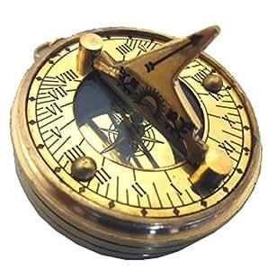Multifonction BOUSSOLE lourd en laiton avec cadran solaire, calendrier perpétuel, le temps du monde