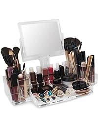 Oi labelstm en acrylique transparent maquillage/cosmétiques/bijoux/Vernis à ongles/Affichage Parfum Organiseur avec support rotatif Miroir grossissant (3mm) en acrylique de haute qualité.