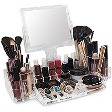 Oi LabelsTM acrílico Transparente maquillaje / Cosmético / Joyería / Nail Polish / Perfume Organizador Soporte De Exhibición con Rotatorio Lupa Espejo ( del alto grado 3mm acrílico)