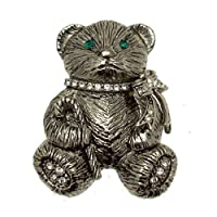 Acosta Brooches - Vintage Style Christmas Teddy Bear Brooch (Antique Silver Coloured) - Gift Boxed