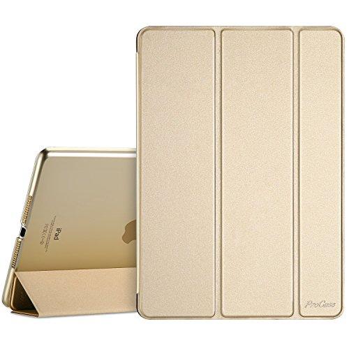 ProCase iPad 9.7 Hülle 2018 iPad 6 Generation /2017 iPad 5 Generation Tasche - Äußerst Schlank Leichtgewicht Ständer mit Transluzent Matt Rückseite Intelligente Hülle für Apple iPad 9.7 Zoll -Gold (Ipad Der Ersten Generation Tasche)