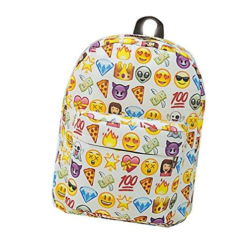 Zaino In Nylon, Donne Adolescente Ragazzo Cerniera Emoji Zaino Scuola Borse Moda Spalla Borsa di Kangrunmy Bianca