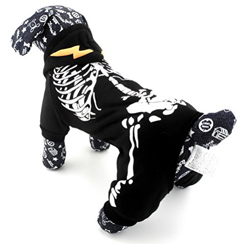 ZUNEA Nachtleuchtende Skelett Mit Kapuze Kleinen Hund Overall Hoodie Welpen Winter Jacke Mantel Pet Kleidung Bekleidung Halloween Kostüme Schwarz - Trikot Halloween-kostüme