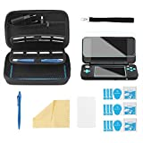Bestico Custodia per New Nintendo 2DS XL Accessori Set, Custodia Protettiva per Nintendo DS(New 2DS XL/New 3DS XL/3DS/3DS XL/New 3DS) con 16 Supporti per Cartuccia di Gioco+4 Pellicola Protettiva+ Penna Stilo Touch Screen +Cinturino (Nero) immagine