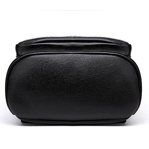 Mefly Il coreano Tendenza Moda Borsa studente rivetti Borsa in pelle lavata (nero) Litchi (black)
