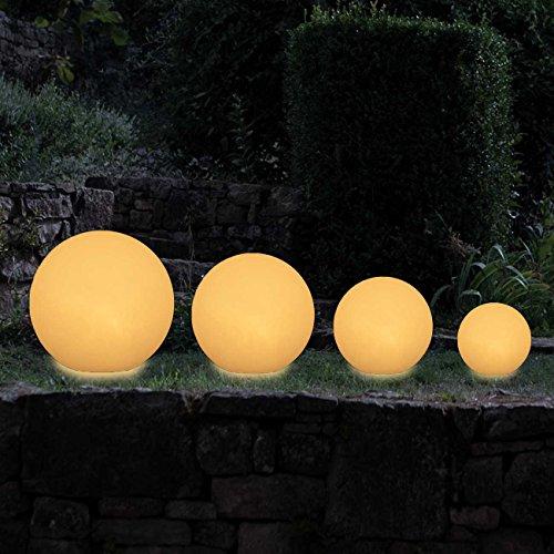 MAXCRAFT Gartenleuchte Rund Gartenlampe Gartenbeleuchtung Lampe Kugel Außenleuchte Kugelleuchte Außen für Garten Fassung E27 mit 6 Erdspießen Weiß IP65 mit 2 Meter Kabel - Ø 30 cm