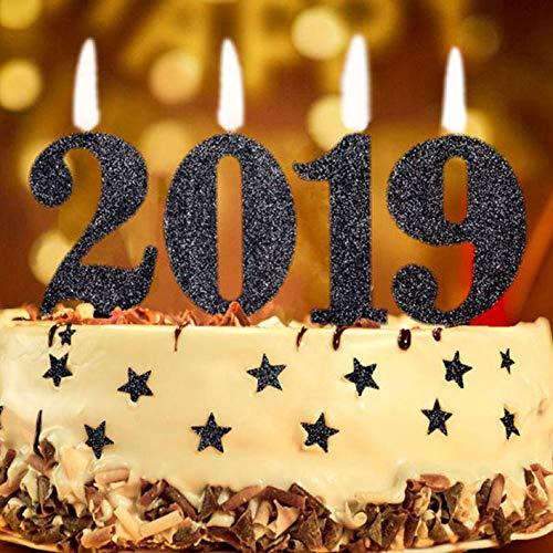 Kerzen 2019 Gold/schwarz Glitter Dekorationen Set Kuchen Kerzen Festa Party Neujahreszeit New Year's Eve Felice Jahr Schwarz