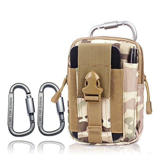 Campeggio esterno Marsupio 2 moschettone Arrampicata sacchetto del raccoglitore escursionismo cintura sacchetto della borsa della cassa del telefono del sacchetto chiave (Black) Camo