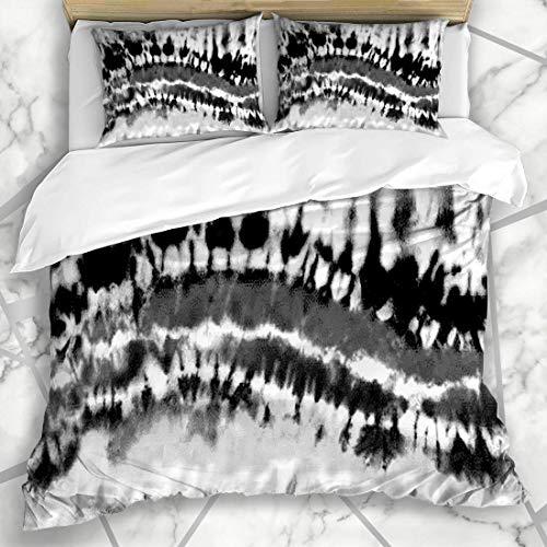 Soefipok Bettwäschesets Monotone Schwarz Weiß Gebleicht Rainbow Tie Dye Abstrakt Bleach Distressed Gothic Grau Design Ink Mikrofaser Bettwäsche mit 2 Pillow Shams -