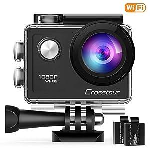 Crosstour Action Sport Cam Wifi 1080P Full HD Unterwasserkamera 2″ LCD 170° Weitwinkelobjektiv Helmkamera mit 2 Akkus 1050mAh und Zubehör Kits