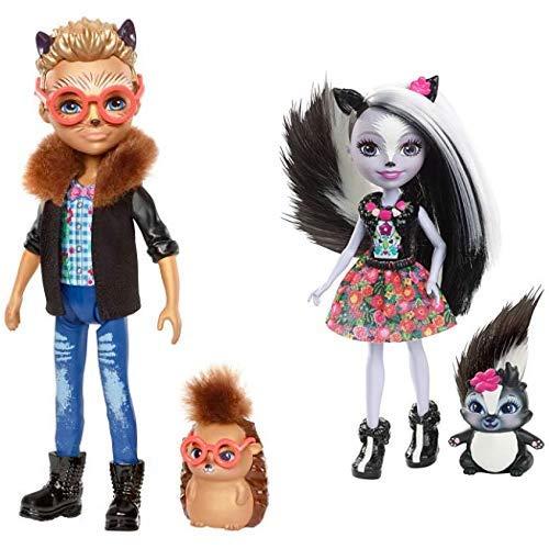 Enchantimals FJJ22 Igeljunge Hixby Hedgehog Puppe &  Mattel DYC75 - Stinktiermädchen Sage Skunk, Puppe