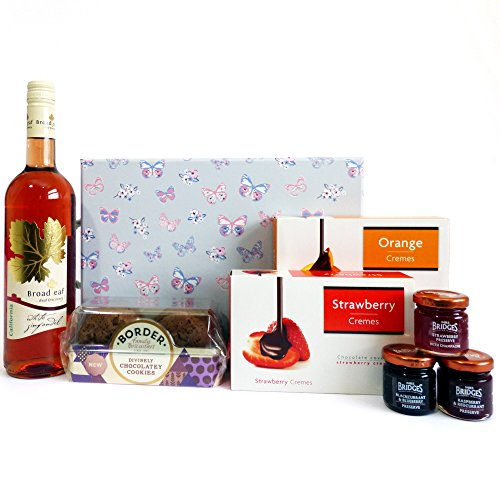 Broadleaf Rose Wine & Nibbles Hamper Presented in a Delightful Butterfly Gift Box - Gift Ideas for Birthday, Wedding, Anniversary and Corporate
