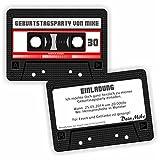Einladung Geburtstag TAPE Kassette Tonband l Einladungskarten Retro (30 Stück)
