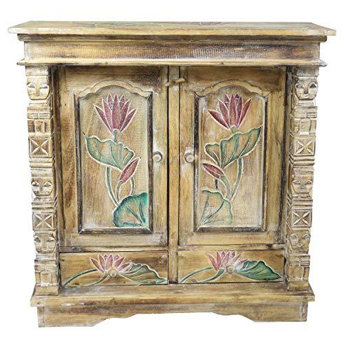 Oriental Galerie Schrank Kommode Sideboard Flurschrank Dielenschrank Telefonschrank Blumen Lotus 80x80 cm Braun Color W/W -