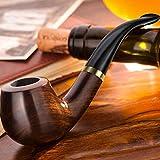 Scotte Pipa da tabacco in legno di ebano, per filtri da 9mm