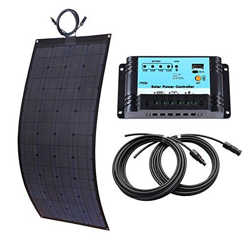 Lensun® 100W 12V Solarzelle Solarmodul Flexible Fiberglas Solarpanel in Schwarz Komplett Kit Für Zum Aufladen Von 12V Batterien in Yacht, Boot, Caravan, Wohnmobilen