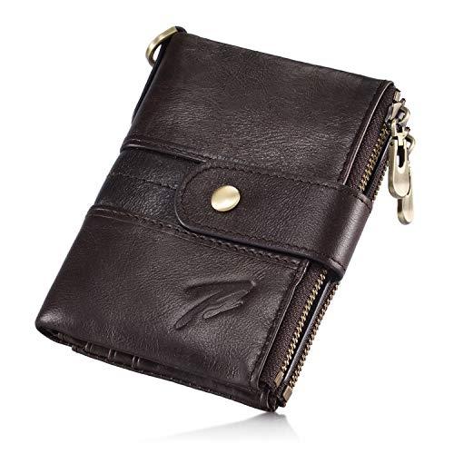 Imagen de hombre cartera billetera de cuero genuino monederos estilo motero biker cartera con cadena, tarjetero piel con bolsillo de cremallera, cartera vertical en piel, vintage style, color marrón oscuro