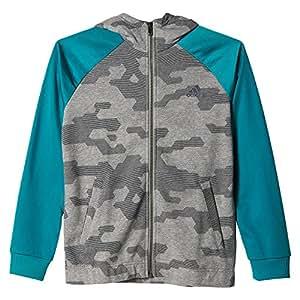 Adidas YB LR S FZ Hood Felpa per Bambino, Grigio/Verde (Brebas/Griosc/Eqtver), 164