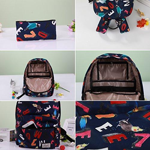 Mocha weir JIAYBL Laptop Taschen Schultern Kinder Schultaschen Rucksack Hochschule Mädchen Canvas Pack reisen (Hellgrau) Papagei und Schwarz