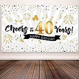 Blulu Decoración de Fiesta de 40 Cumpleaños, Tela Extra Grande Póster de Señal Dorado Negro para 40...