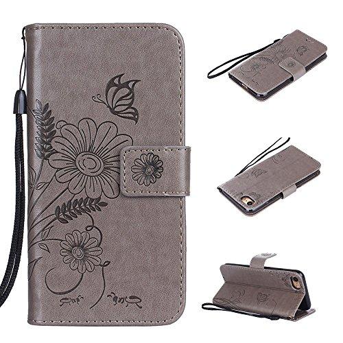 Cover per iPhone 8 / iPhone 7, Vectady Cover Custodia in Pelle a Libro Portafoglio Wallet Magnetica Flip Cuoio Leather Case Protettiva Antiurto Caso con Porta Carte Funzione Cinturino da Polso Disegni Grigio Colore