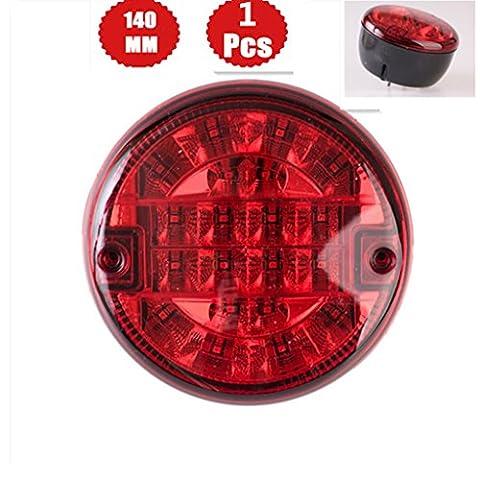 WildAuto - Trailer Fog Light - Red Led Rear Fog Lamp - For Truck, Lorry - 15 Diodes - 140 mm - 12 V/24V - 1 Pcs
