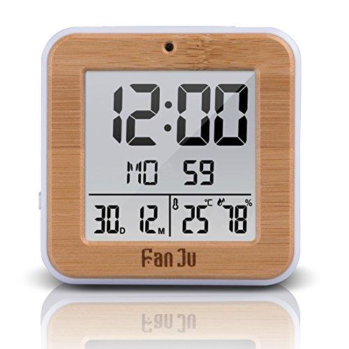 FanJu FJ3533 LCD Digital Wecker Kleiner mit Doppelalarm / Batterie Betrieben / Auto-Nachlicht / Innentemperatur und Luftfeuchtigkeit / Schlummerfunktion / Datum / Uhr für Zu Hause. (Yellow) Niedrig-temperatur Lcd
