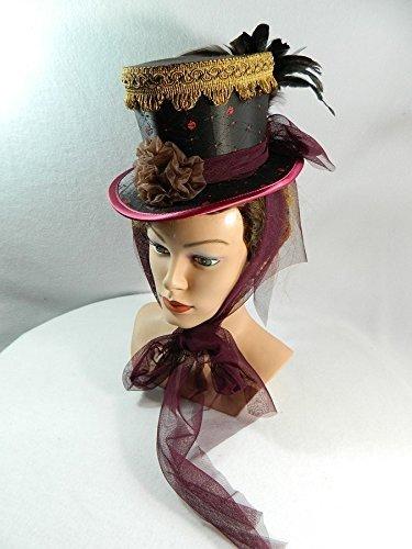 Midi Damen Zylinder Damenhut Fascinator braun bordeaux Victorian Tophat Minihat
