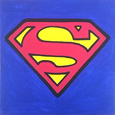 Superman Logo Cadre moderne bois Panneau MDF peint à la main POP ART Effect (format 50x 50cm)