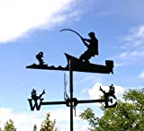 Wetterfahne Angler klein Windfahne aus Stahl schwarz