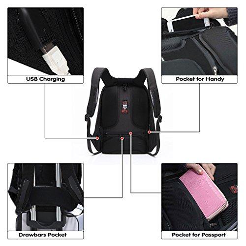 UBAYMAX Mochila Antirrobo USB Mochila de Seguridad, 15.6 Mochila para Ordenador Portátil, Regalo para Estudiantes/Hombre/Mujer, Mochila Bolsa Impermeable de Colegio Viaje Negocios (Negro-1)