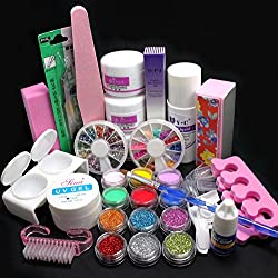 COFCO 21 en 1 Pro Kit de decoraciones para uñas Gel UV cepillo de amortiguación herramienta uñas consejos pegamento colorido polvo acrílico purpurina 4 way Buffer Bloque lijado archivos Set Herramientas 189