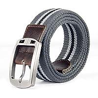 TINERS Lienzo Tejido Cinturón Hombres Y Mujeres Informal Salvaje Tejido Elástico Tejido Elástico Pin Hebilla Cinturón,Graystripes