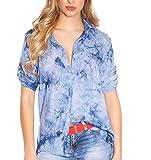 M & S Fashion Stylisches Stretch-Hemd im Batik-Look mit Zier-Perlen S