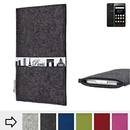 flat.design für Hisense Rock Lite Schutzhülle Handy Case Skyline mit Webband Paris - Maßanfertigung der Schutztasche Handy Hülle aus 100% Wollfilz (anthrazit) für Hisense Rock Lite