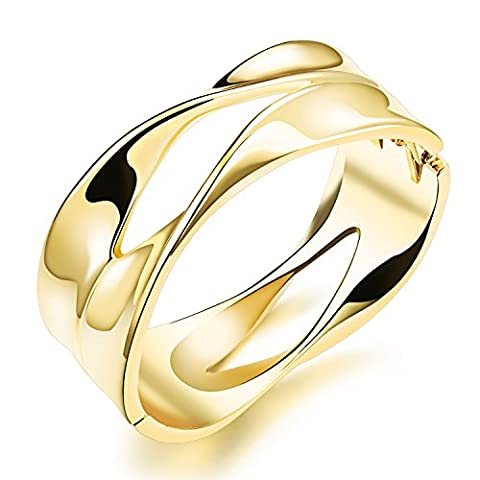 Fate Love Gold/Platinum Plated Wide Opening Adjustable Cuff Bangle Twisted