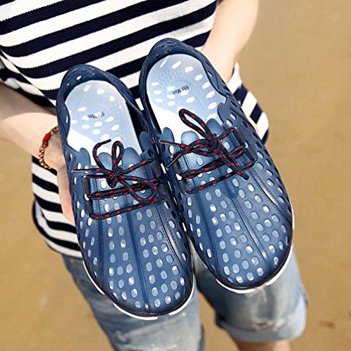 YOUJIA Herren Sommer Clogs Atmungsaktiv Hohl Hausschuhe Schnüren Strand Casual Pantoffeln Sandalen Blau