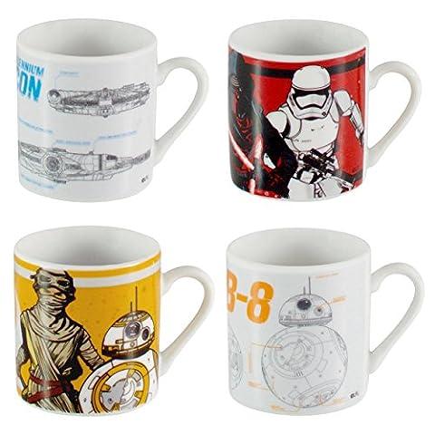 Star Wars Coupes en céramique Espresso Ensemble de 4 x 50ml Empilable Mini Single Shot décoratifs imprimés Blueprint/First Order & Resistance Blanc Espresso Coffee Mugs/Verres dans l'emballage cadeau